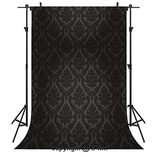 Dark Grey Photography Backdrops,Ancient Damask Motifs Victorian Vintage Revival Design Elements Medieval Baroque Decorative,Birthday Party Seamless Photo Studio Booth Background Banner 5x7ft,Black -