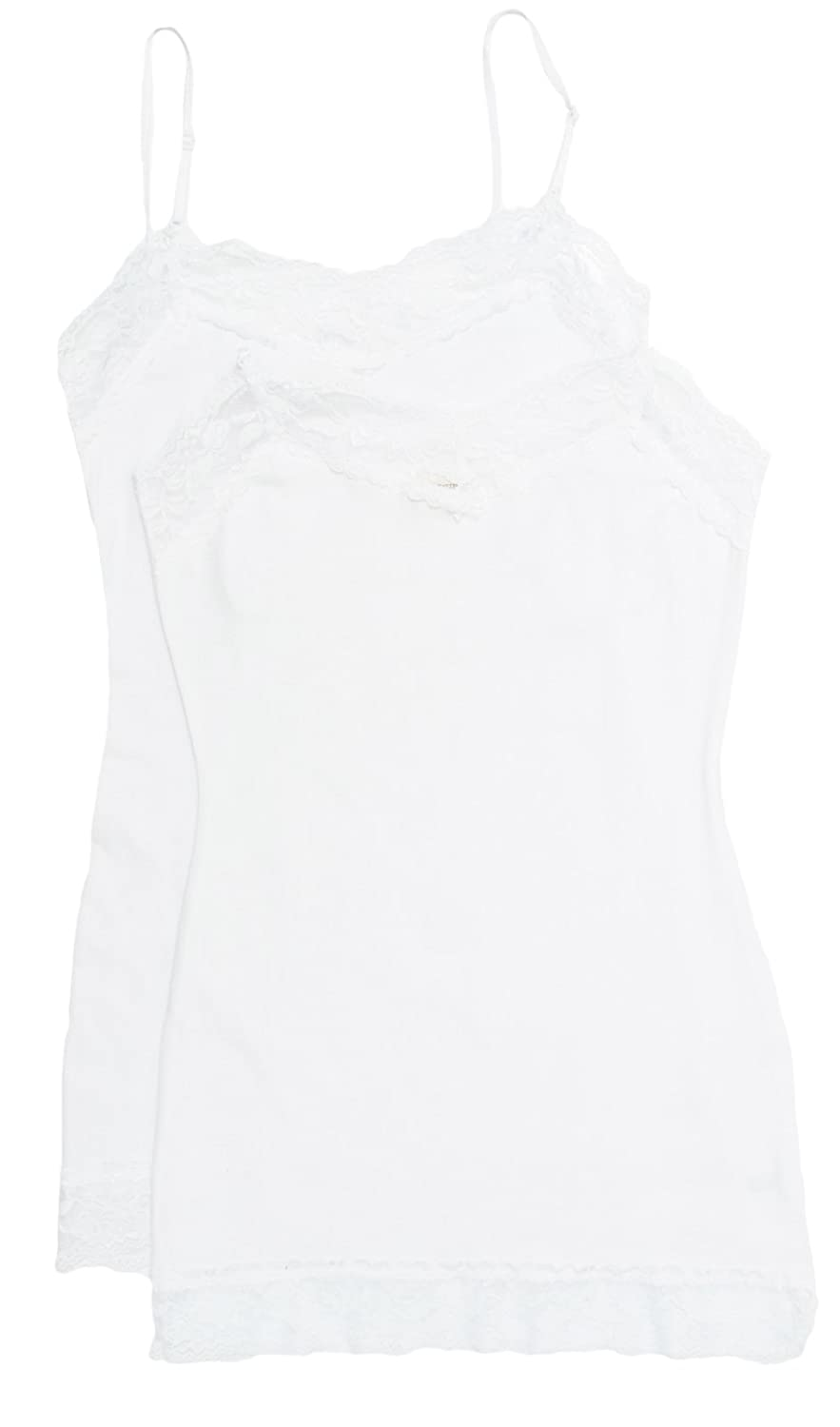 2 Pack Zenana Women's Lace Trim Tank Tops Med White, White