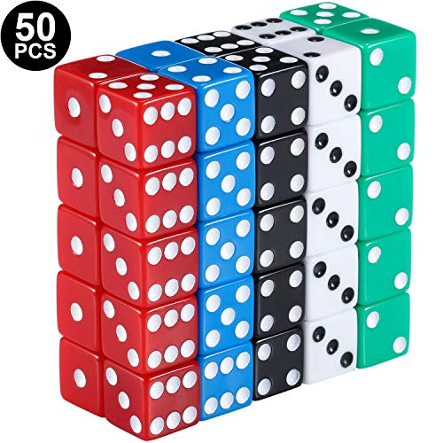 Blulu 6-Sided Games Dice Set, Colored Dice with Black Velvet Pouches for Playing Games, Like Board Games, Dice Games, Math Games, Party Favors and More (16 mm, 50 Pieces Multicolored G) Black & White Dice