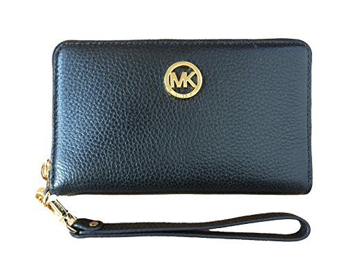 Price comparison product image Michael Kors Fulton Large Flat Multi Function Leather Phone Case (Black)