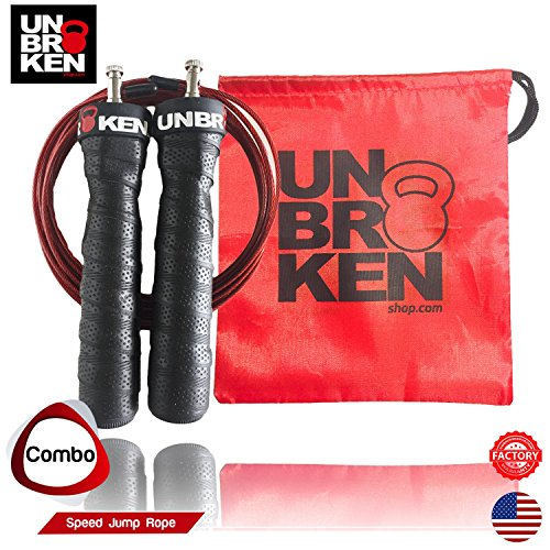 Unbrokenshop.com Cross Fitness Speed Jump Rope adjustable wire skipping exercise double under cardio boxing fitness compare RX by Unbrokenshop.com