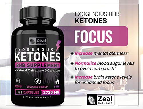 Exogenous Ketones BHB Keto Pills (2870mg   120 Capsules) Keto Diet Pills w. MCT Oil, BHB Salts Beta Hydroxybutyrate, Natural Caffeine - Keto Supplement for Keto Weight Loss - Keto Diet from Shark Tank by Zeal Naturals (Image #5)