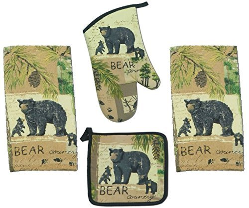 4 Piece Wilderness Trail Bear Country Kitchen Set - 2 Terry Towels, Oven Mitt, (Bear Pot)