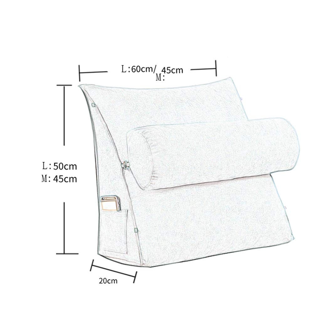 Lil with Headrest Sofa Waist Belt Triangle Cushion, Bed Head Large Office Backrest, Protection Neck Pillow,Removable Washable (Color : Silver Grey, Size : 605020cm) by LILISHANGPU (Image #2)