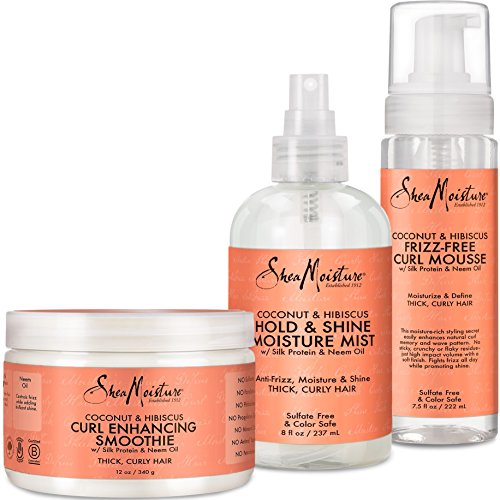 Shea Moisture Coconut and Hibiscus Combination Pack - Daily Moisture Mist, 8 Ounce | Frizz-Free Curl Mousse, 7.5 Ounce | Curl Enhancing Smoothie, 12 - Shea Butter Mist Hair