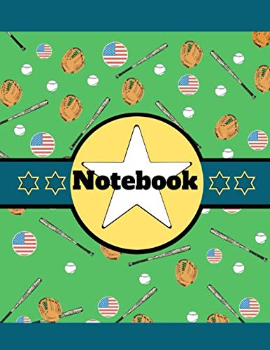 (Notebook: Baseball Stars Bats Glove Green Novelty Gift - Lined NOTEBOOK, 130 pages, 8.5