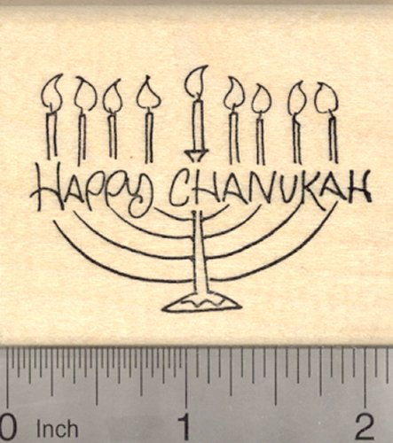- Happy Chanukah Rubber Stamp, Hanukkah, Jewish Festival of Lights