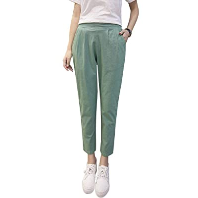 Mujer Pantalones Pantalones Verano 7/8 Pantalones Pantalones Harem Pantalon Lino Pantalones De Tiempo Libre Elegantes Color Sólido Estilo Coreano Lindo Chic Fino Tallas Grandes: Ropa y accesorios