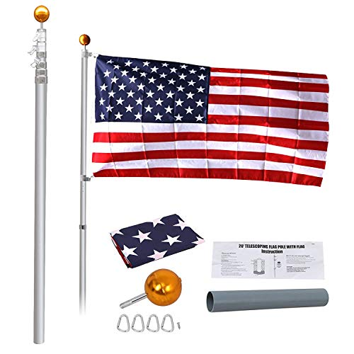 - HomGarden 20FT Telescopic Aluminum Flagpole 3'x5' US American Flag & Gold Ball Top Kit Hardware 5 Sectional Commercial Outdoor Garden Halyard Flag Pole