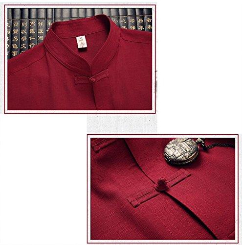 Moyen Coton Chi Costumes Et Célèbres National Tai D'âge Du Vieux Tang Rétro Beige Style Lin Hommes Vent Chinois 8dd6zq