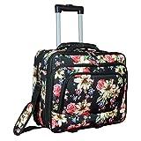 World Traveler Women's Fashion Print Rolling 17'' Case Laptop Bag, Rose Lily, One Size