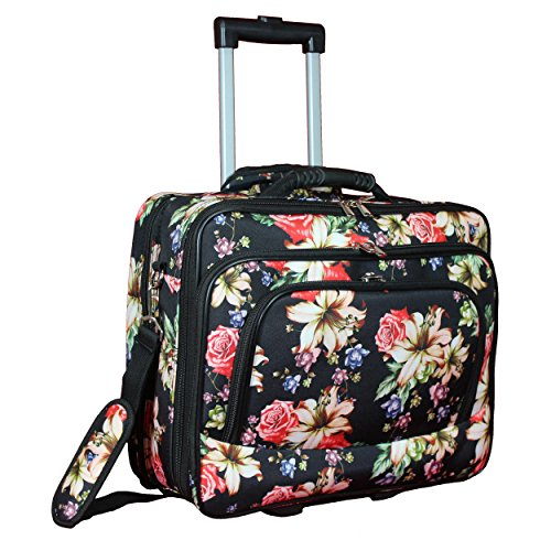 World Traveler Women's Fashion Print Rolling 17'' Case Laptop Bag, Rose Lily, One Size by World Traveler