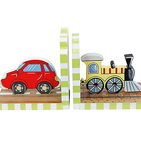 Fantasy Fields - Transportation Thematic Set of 2 Wooden Bookends for Kids | Imagination Inspiring Hand Crafted & Hand Painted Details Non-Toxic, Lead Free Water-based - Hand Painted Train Toy