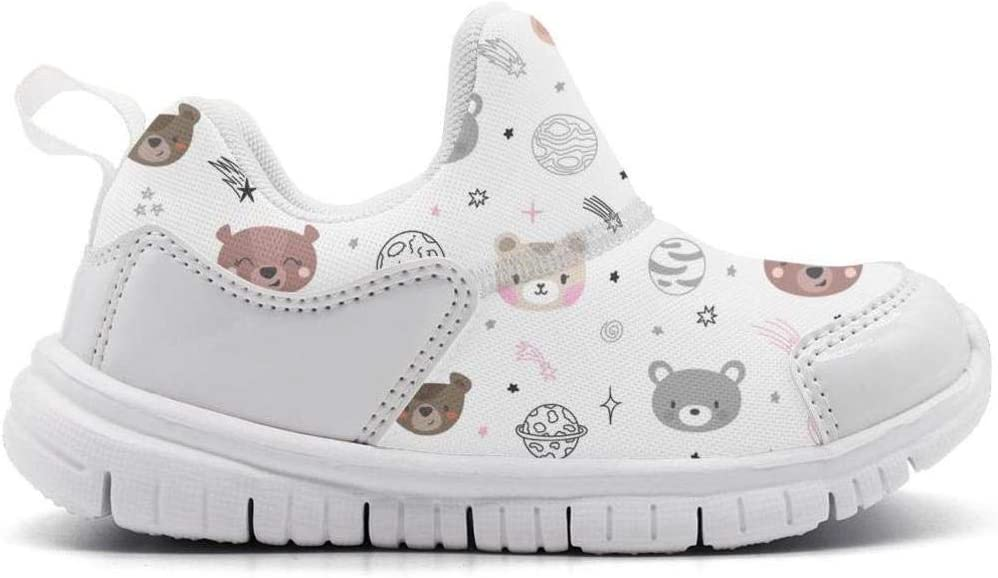 ONEYUAN Children Cute Space Cartoon Bears White Kid Casual Lightweight Sport Shoes Sneakers Walking Athletic Shoes