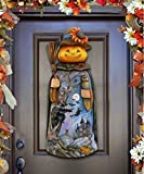 G.DeBrekht Halloween Pumpkin Scarecrow Wooden Indoor and Outdoor Wooden Fall Halloween Hanging Door Decorations and Wall Sign, For Home, School, Office, Haunted House, Party Decorations #8114180H