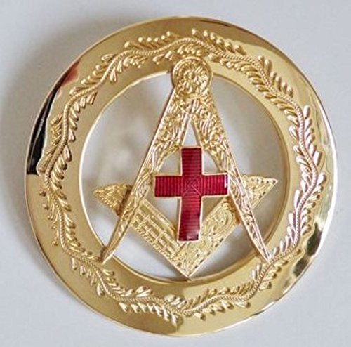 Orange Order Square & Compasses With Red Enamel Cross In Gilt - Past Masters - Gilt Jewel