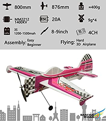 Dancing Wings Hobby DW Hobby 3D Flying Airplane YAK55 800mm Wingspan 4CH EPP Electric Aeroplane Remote Controlled Aircraft need to build Un-assembled KIT Hobby Toy Model for Adults