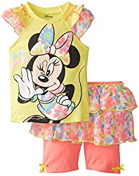 Disney Baby-Girls Infant Minnie Mouse Short with Skirt Set, Yellow, 18 Months