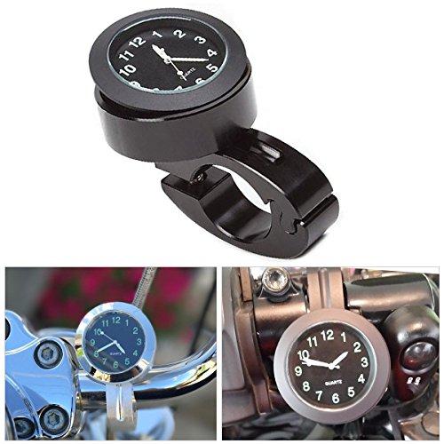 Universal Motorcycle Bike 7/8 Handlebars Clock Accessories Chrome Dial Dial Watch Black yooap ()