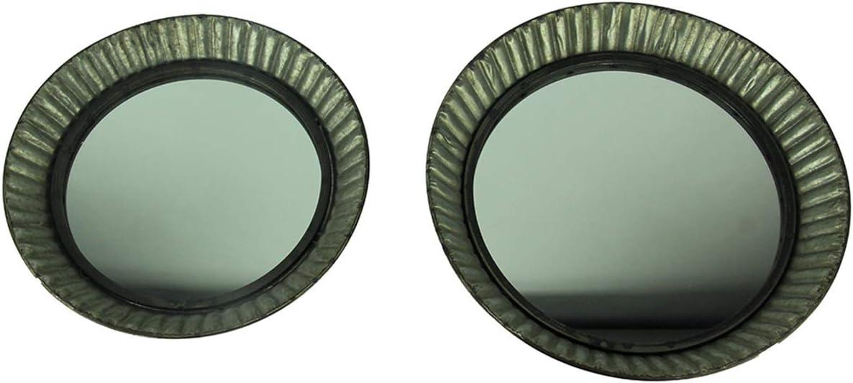 Upper Deck Metal Pie Plate Style Ruffled Frame Rustic Wall Mirror Set