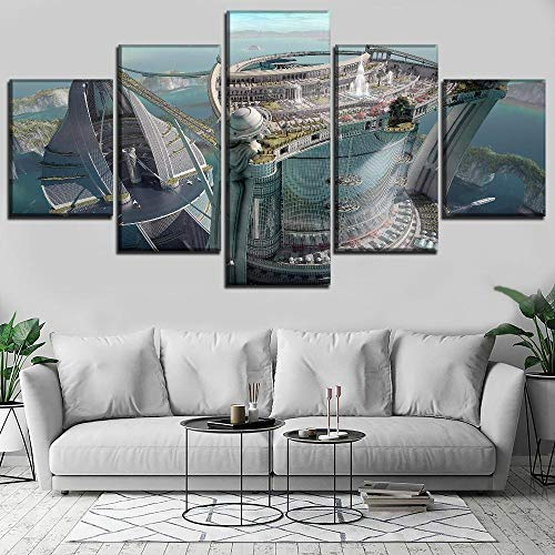 (WLHWLH Modular Picture Modern Wall Decor Poster Print 5 Piece Canvas Building Sci Fi City Fantasy Lake Landscape Ship Decor Painting)