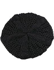 Bluelans® Women's Lady Knitted Beret Braided Baggy Beanie Crochet Hat Ski Cap (Black)