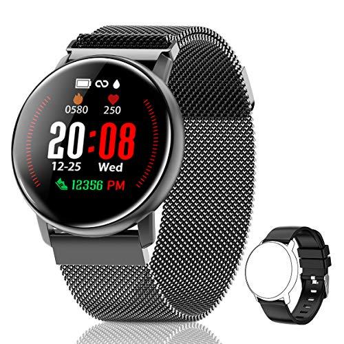 CanMixs Smartwatch Fitness Tracker, CM12 Smart Watch Armband mit Pulsmesser, Wasserdicht IP67 Uhr Stoppuhren Vibrationsalarm Anruf SMS Beachten für Damen Kinder iOS Android Kompatibel