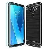 LG V40 ThinQ Case,LG V40 Case,LG V40 Storm Case with HD Screen Protector Thinkart Frosted Shield Luxury Slim Design for LG V40 ThinQ,LG V40,LG V40 Storm Phone (Black)