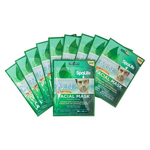 SpaLife Hydrating, Purifying, Anti-Aging, Detoxifying and Soothing Korean Facial Masks - 10 Masks - (Mens Natural Ginseng)