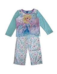 Disney Little Girls Blue White Elsa Snowflake Print 2 Pc Pajama Set 2-4T