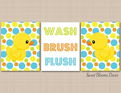Duck Bathroom Wall Art,Rubber Ducky Bathroom Decor,Yellow Green Blue Baby Bathroom Decor,Duck Nursery Art,Wash Brush Flush,Wash Brush Flush-UNFRAMED set of 3 PRINTS (NOT CANVAS) B142 (Rubber Ducky Wall)