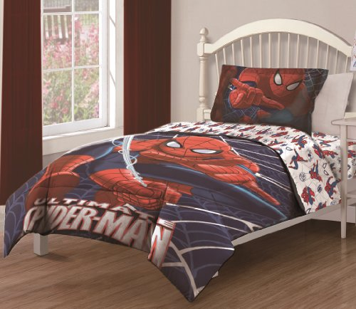 Marvel Spiderman Ultimate Webs Twin Comforter Set with Fitted Sheet