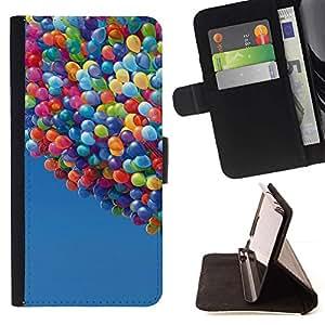 Momo Phone Case / Flip Funda de Cuero Case Cover - Globos Hasta Cielo historieta del verano azul - Huawei Ascend P8 (Not for P8 Lite)