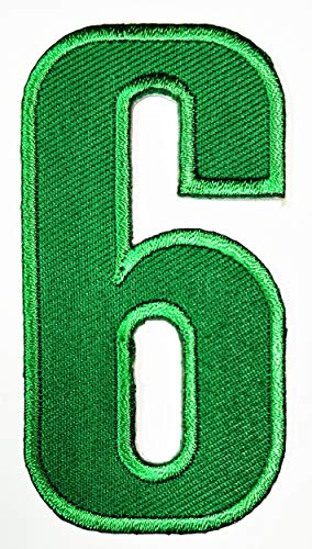 Letter School 0-9 Number Arabic Patch Green Number Six No.6 Iron Sew On Embroidered Logo Symbol Coach Sports Team Fan Player Lover Basketball Football for Costume Badge Cloth -