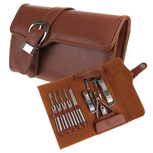 (Jhua 11pcs Manicure Set Luxury/Deluxe Genuine Brown Leather Nail Care Personal Manicure & Pedicure Set, Manicure Travel & Grooming Set Kit, Nail)