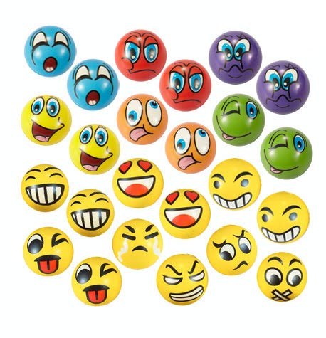 "EMOJI Stress Ball 24 PCS Foam Squashy Balls (2.5"") Squeeze Toy to Release Stress"