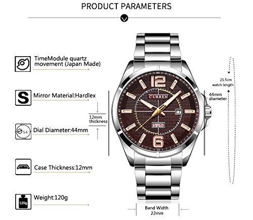 New Men Watch Quartz Water Resistant Sliver Steel Watchband Wristwatches Calendar 8271 by CURREN (Image #2)