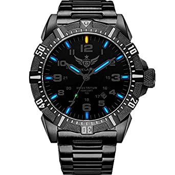 YELANG V1003 mens tritium gas blue luminous waterproof sports military diving watch