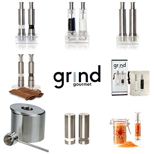Travel Salt And Pepper Grinder Set, Grind Gourmet Original Pump & Grind Travel Gadgets, Spice Grinder, Pepper Mill, Small Salt Pepper Grinder, Free Pep Spice and Salt (Stainless Steel)