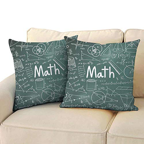 Personalized Pillowcase Mathematics Classroom Decor School Board Full of Drawings Formulas Shapes Theory Math Word Soft and Breathable W 16