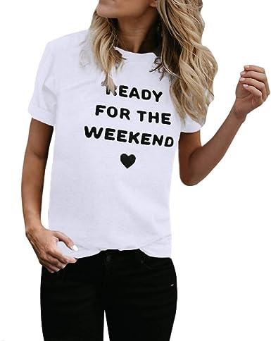 JURTEE Camiseta para Mujer Simple Moda Letra Y Forma De Corazon Impresión T-Shirt Clásico Verano Manga Corta Remera Boutique Tops