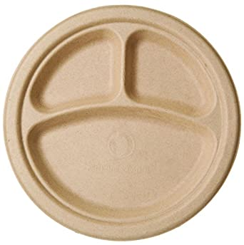 Bridge-Gate BGW 9-3 Renewable and Compostable Wheat Straw 3-Compartment Round  sc 1 st  Amazon.com & Amazon.com: Bridge-Gate BGW 9-3 Renewable and Compostable Wheat ...