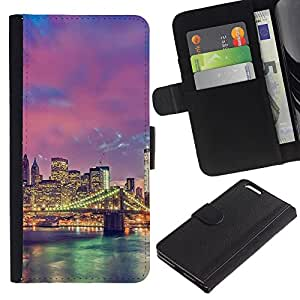KingStore / Leather Etui en cuir / Apple Iphone 6 PLUS 5.5 / Allume pont de la rivière de l'Architecture