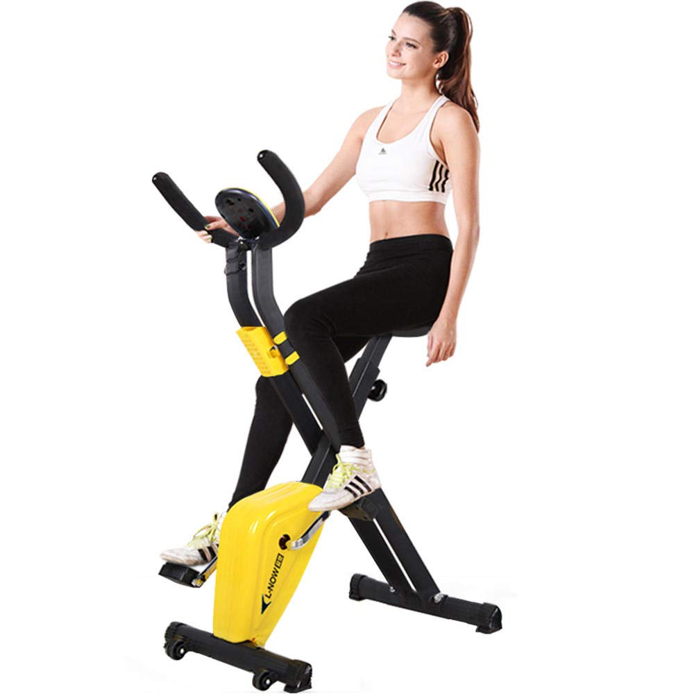 pooboo Folding Exercise Bike Indoor Cycling Bike Upright Stationary Bicycle X Bike with LCD Monitor