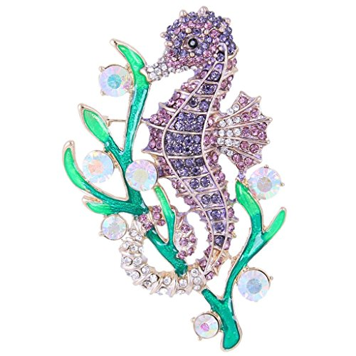 (EVER FAITH Austrian Crystal Enamel Adorable Sea Horse with Seaweed Brooch Amethyst Color Gold-Tone)
