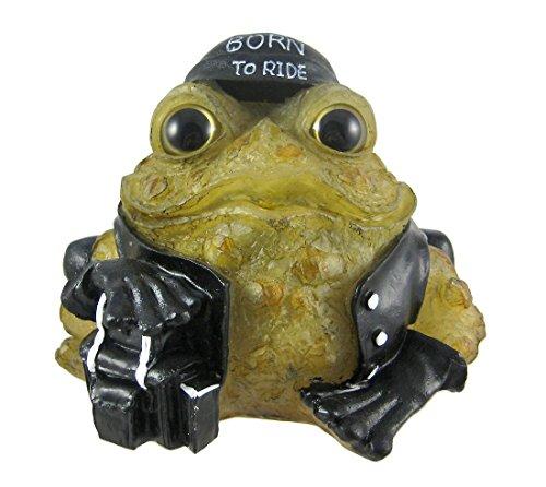 Solar Toad - 6 Inch Light Green Toad Hollow Biker Frog Solar Light Garden Decor