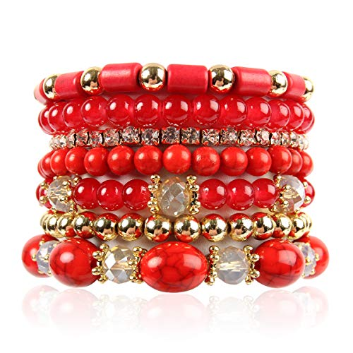 RIAH FASHION Multi Layer Bead Bracelet - Colorful Stacking Beaded Strand Stretch Cuff Statement Bangles Set (Red)