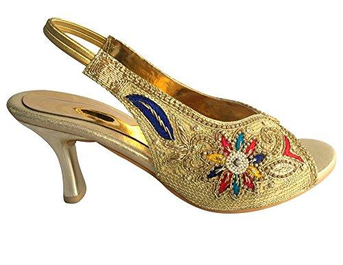Step n Style - Sandalias de vestir para mujer Multicolor - dorado