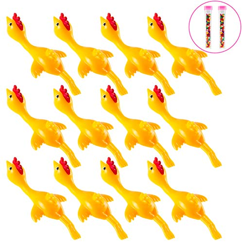 Solovey 12 PCS Slingshot Chicken Rubber Chicken Flick Chicken Game Flying Toys Sticky Funny Office Pranks Chicks Party Activity Turkey Toys Gifts for Kids Adults Yellow