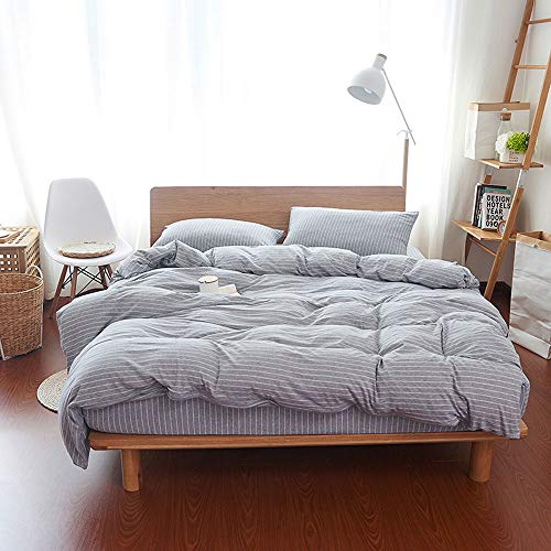 Household Jersey Cotton Duvet Cover, 3 Piece Duvet Cover Set with Zipper Closure Includes 2 Pillowcase (Fine Stripe Grey, Queen)